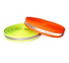 Cinta Reflectiva Para Coser Tela Naranja Con Cinta Reflectiva Gris En El Medio 5cmxmt. Cd-487n