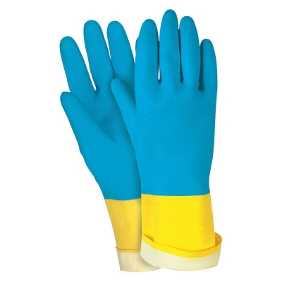 Par Guante Latex Natural Con Neopreno Azul Y Amarillo.