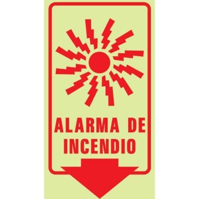 Cartel Linea Fotoluminiscente Alarma De Incendio 200x300