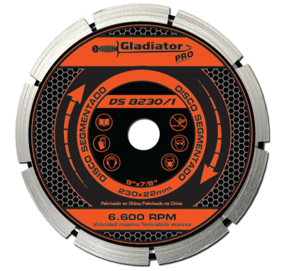 Disco De Widia Gladiator 230 Mm Segmentado