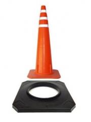 Cono De 110cm Flexible Color Naranja Vial, Con Reflectivo. Con Base De 4 Kg