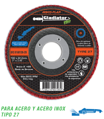 Disco Flap Zirconio Gladiator 180 Mm Gr 60 Gladiator