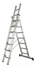 Escalera Tijera Y Extensible Aluminio 3x7 Escalones 4,2mts Pronor