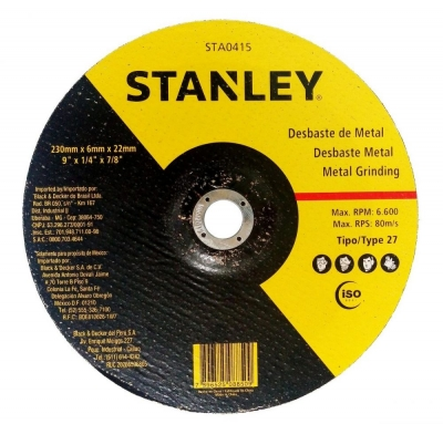 Disco Desbaste Metal 230 Mm 6 Mm Stanley Sta0415