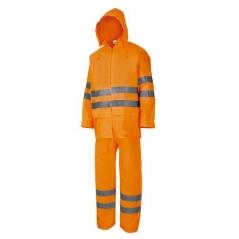 Traje Impermeable 3 Piezas Naranja Fluorescente Tipo Autopista. Lembu