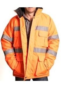 Campera Naranja Larga Con Reflectivo, Tela Oxford 310 T, Forro Chiporro
