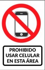 Cartel Linea Autoadhesivos No Utilizar Telefonos Celulares En Este Área 100x150