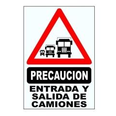 Cartel Corrugado 50x70 Entrada Y Salida De Camiones