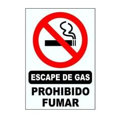 Cartel Corrugado 50x70 Escape De Gas Prohibido Fumar