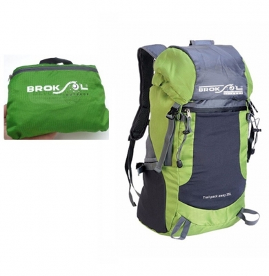 Mochila Camping Transf 25lts Reduce A Bolsito Color Verde Y Gris