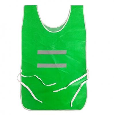 Chaleco Tipo Poncho Pvc Verde Con Reflectivo Con Tiras De Ajuste Art.1051v