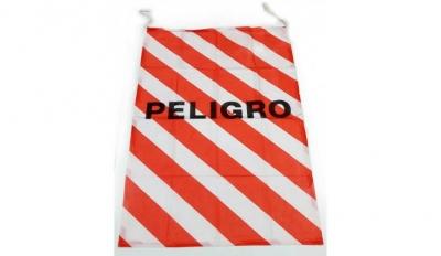 Bandera Con Leyenda Peligrocon Cordones De Sujecion 50cm X 70cm. Cd-7294