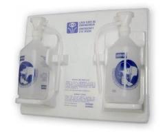Estacion Lavaojos, 2 Botellas Con Mensula Plastica Para Pared