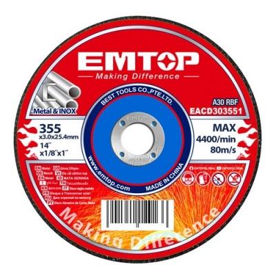 Disco Corte 355x3x25mm Emtop Eacd303551