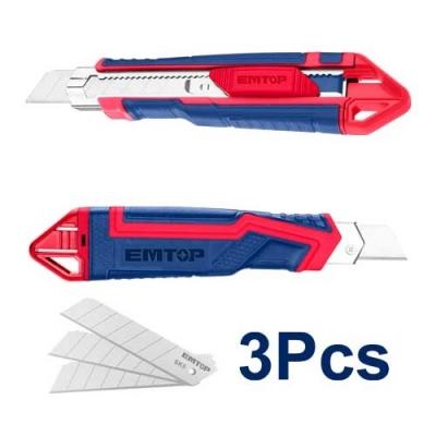 Cutter Plastico C/grip Guia Metalica 18mm C/3 Hojas Rpto Emtop Esnk18302