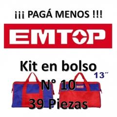 Set Promocion 39 Herramientas En Bolso 13pulg Emtop Kit10