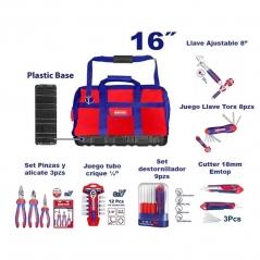 Set Promocion 7 Herramientas En Bolso 16pulg Emtop Kit2