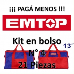 Set Promocion 21 Herramientas En Bolso 13pulg Emtop Kit4