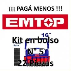 Set Promocion 22 Herramientas En Bolso 16pulg Emtop Kit5