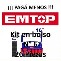 Set Promocion 26 Herramientas En Bolso 16pulg Emtop Kit6