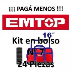Set Promocion 24 Herramientas En Bolso 16pulg Emtop Kit7