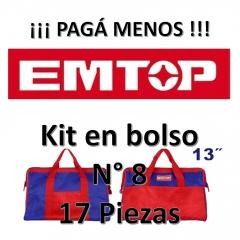 Set Promocion 17 Herramientas En Bolso 13pulg Emtop Kit8