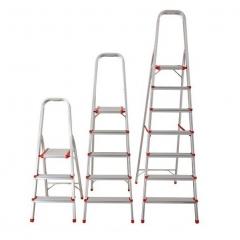 Escalera Aluminio Tijera Con Apoyo 6 Escalones 150kil 119/181cms