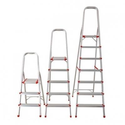 Escalera Aluminio Tijera Con Apoyo 7 Escalones 150kil 139/202cms