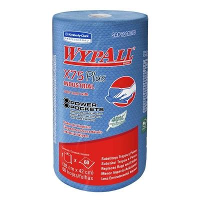 Rollo Panos De Limpieza Wypall X75 Industrial.60 Hojas 28x42cms.