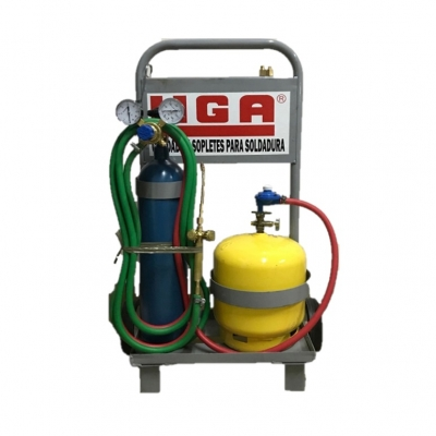 Mini Equipo Oxi-gas C/garrafa 3 Kgy Tubo De Oxígeno ½ M³ C/válvula, Soplete M3 Y Carro Transportador