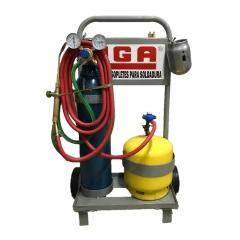 Mini Equipo Oxi-gas C/garrafa 3 Kgy Tubo Oxígeno 1 M 3 C/vávula, Soplete M3 Y Carro Transportador