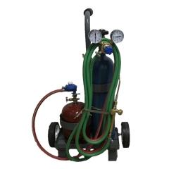 Mini Equipo Oxi-gas C/garrafa 1 Kgy Tubo De Oxígeno ½ M³ C/válvula, Soplete M3 Y Carro Transportador