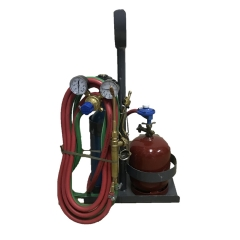 Mini Equipo Oxi-gas C/garrafa 1 Kgy Tubo De Oxígeno ¼ M³ C/válvula, Soplete M3 Y Canasto Transpor