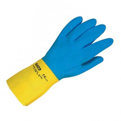Par De Guante Latex Duo Mix 405 Con Neopreno Azul Y Amarillo