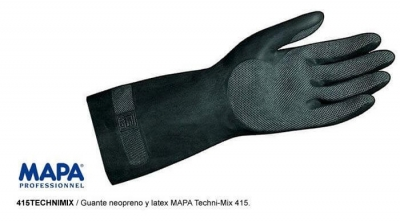 Par De Guante Latex C/neopreno Negro Techni-mix 415