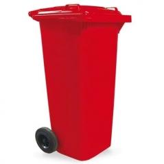 Contenedor 120lts 2 Ruedas Y Tapa Abisagrada Color Rojo