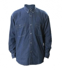 Camisa De Jean Manga Larga, Con Bolsillos, Azul.