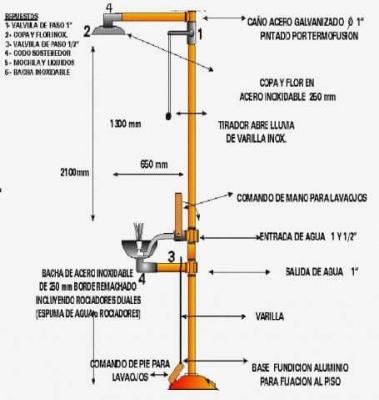 Ducha De Emergencia Combinada Con Lavaojos