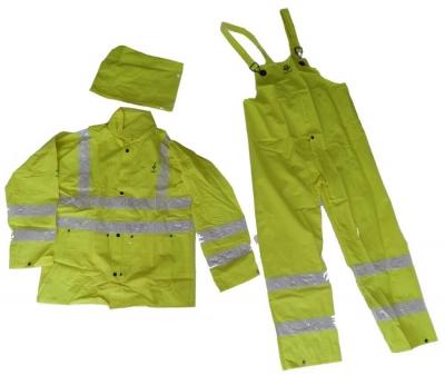 Traje Impermeable 3 Piezas, Amarillo Fluorescente Tipo Autopista, Con Reflectivo