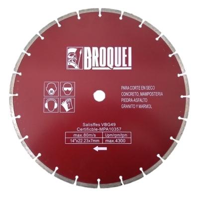 Disco Diamantado Segmentado 14pulgx 22mmx7mm Broquel