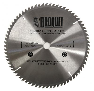 Sierra Circular Broquel 12 72t 25,4mm Max 4500rpm