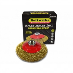 Cepillo Circular Conico Bronceado Rizado Con Tuerca De 75 Mm