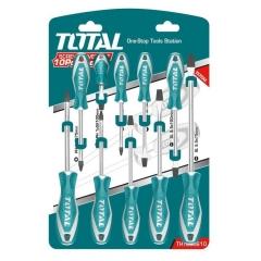 Set De 10 Destornilladores Industrial Total Tht250610